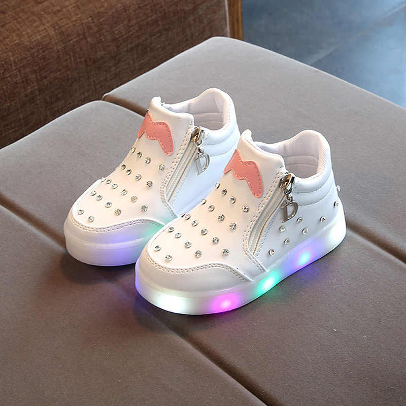 Luminous glowing Kids Led Shoes For Girl Toddler Girls Sneakers Children Cartoon Sneakers With Light Soft Sports Led Shoes 21-36