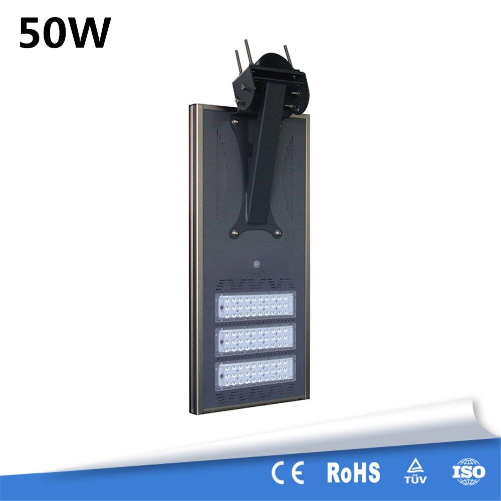 High Brightness 50W Waterproof IP65 Motion Sensor Integrated All In One Solar Street Light Aluminum 12V 25AH Lithium Battery