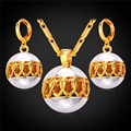 U7 Hollow Ball Jewelry Sets For Women Two Tone Yellow Gold Plated Heart Linked Earrings Necklace Sets S242