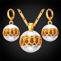 U7 hueco bola de la joyería para las mujeres dos tonos de oro amarillo plateado conjuntos de collar aretes de corazón ligado s242