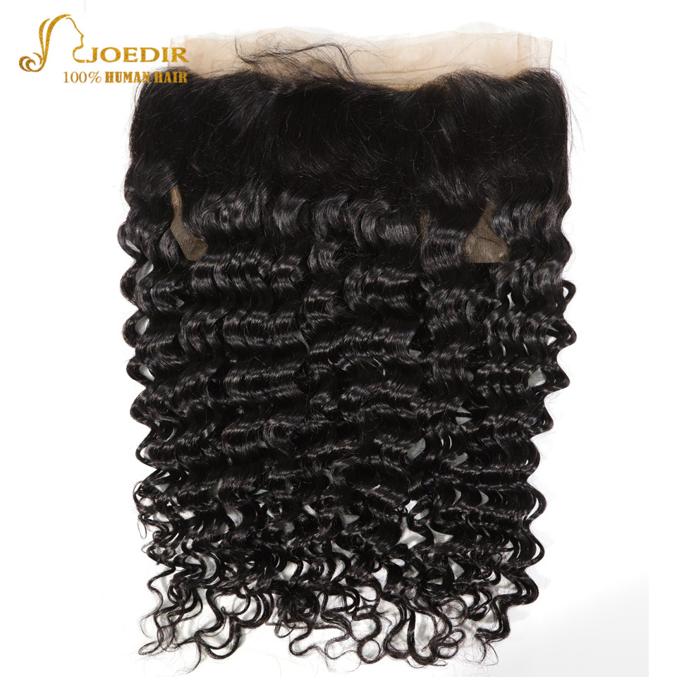 Joedir Frontal Deep Wave Brazilian Hair 360 Lace Frontal Closure Natural Color 8-18