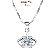 Lemon Value Silver Plated Statement Choker Romantic Luxury Zircon Crystal Crown Pendant Necklace Women Wedding Jewelry Gift P048