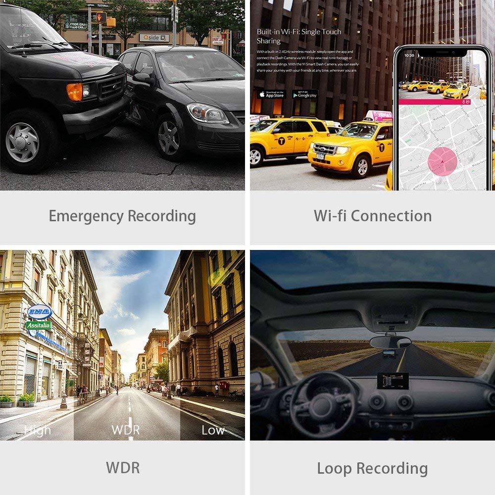YI Compact Dash Caméra 1080 p Full HD caméra de tableau de bord de voiture avec 2.7 pouces écran lcd 130 WDR Lentille G-Capteur vision nocturne noir - 5