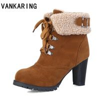 VANKARING women ankle boots shoes woman faux leather fur high heels ankle boots red warm shoes ladies dress snow boots big size