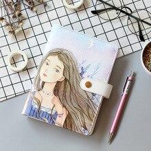 A6 mignon cahier à spirale bloc notes en cuir PU couleur flamant rose Sakura planificateur Kawaii journal intime livre école fournitures de bureau Papelari