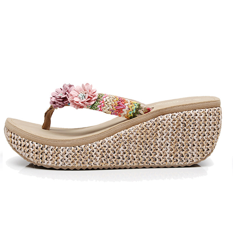 ec4fe9183fdc Aliexpress.com   Buy Summer Bohemia Slippers New Fashion Clip Toes Flip  Flops Flower Womens Wedge Sandals Casual Beach Slippers Platform Wedges  Shoes from ...