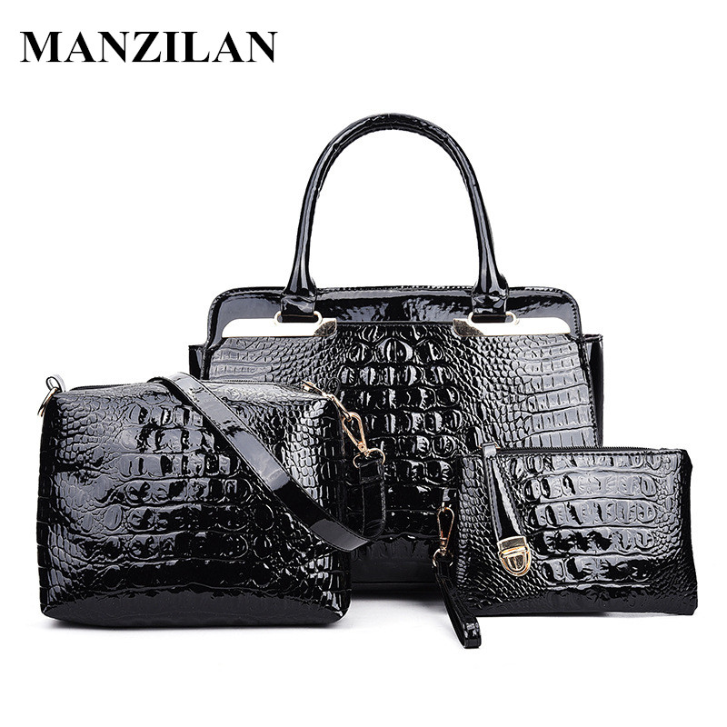 ФОТО 3 Sets New Luxury Brand Desinger Patent Leather Alligator Pattern Women's Handbag Shining Female Shoulder bag messenger bags