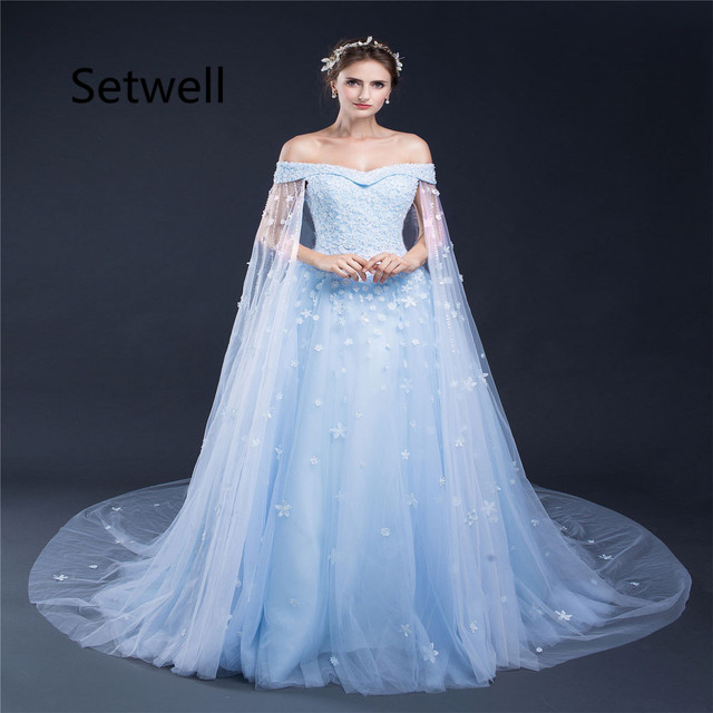 Setwell Unique Ball Gown Wedding Dress With Cape Y Off Shoulder Lace Up Back Dresses