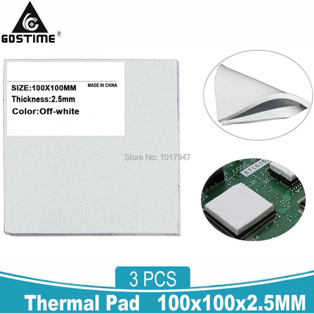100x100x2.5mm GPU Chip Heatsink Cooling Silicone Compound Thermal Conductive Pad