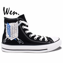 Wen Black Hand Painted Shoes Design Custom Wings Attack on Titan Logo Anime High Top Men Women's Canvas Sneakers