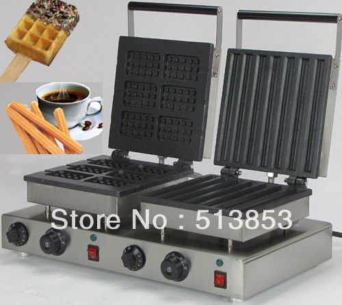 Free Shipping ,2013 hot sale!   Doulbe-Head  Electric Churros & Square Waffeleisen Waffle Maker Machine Baker
