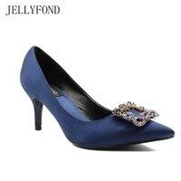 JELLYFOND Royal Blue Satin Silk High Heels Women Wedding Shoes Pointed Toe Rhinestones Pumps 2017 Fashion