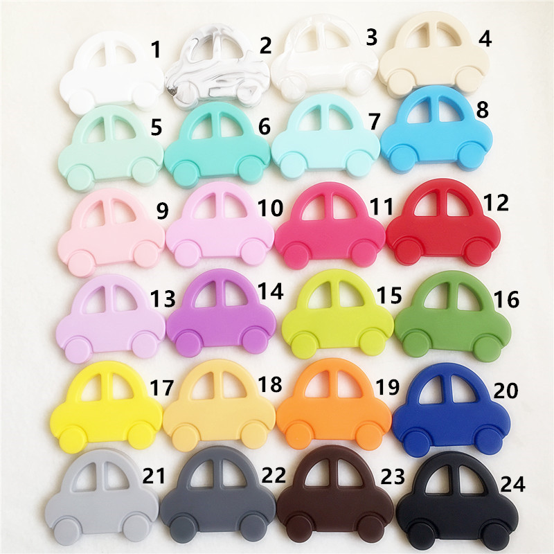 Chenkai 10PCS BPA Free DIY Silicone Car Teether Chewable Pendant Nursing Teething Necklace Baby Pacifier Dummy Toy Gfit Teether