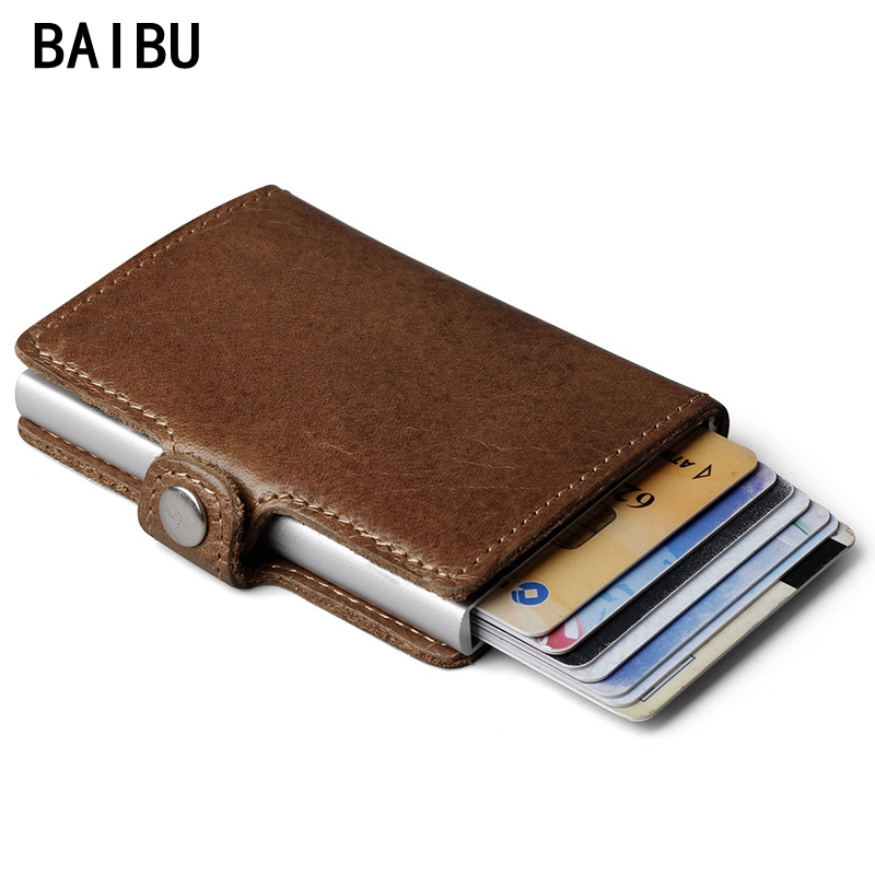 Genuine Leather Mens Aluminum Wallet With Back Pocket ID Card RFID Blocking Mini Magic Wallet Automatic Credit Card Coin Purse