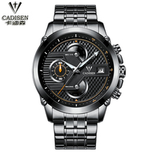 Cadisen montre hommes six-pin calendrier quartz mouvement montre Noir/noir Imprimé Noir/Noir Bande En Acier/PU en cuir montre