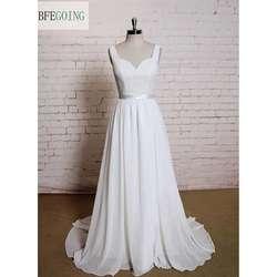 Белый Кружево шифон-line Свадебные платья Часовня Поезд v-образным вырезом без рукавов с открытой спиной реальный/оригинальные фотографии