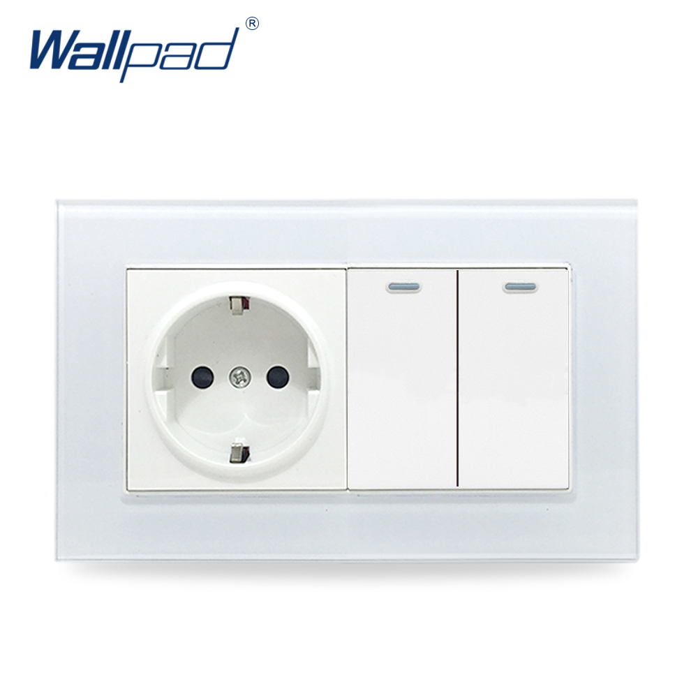 EU Socket + 2 Gangs 2 Way Wallpad Crystal Glass Panel 110V-250V 146*86mm EU Wall Power Socket with 2 Gang 2 Way Ligtht Switches 146 double 13a uk switched socket wallpad crystal glass panel 110v 250v 146 86mm uk standard wall socket plug power outlet