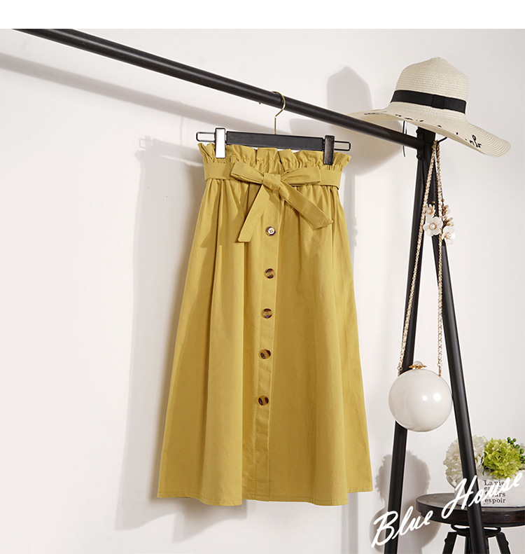 HTB1H8oaXvvsK1RjSspdq6AZepXaT - Summer Autumn Skirts Womens Midi Knee Length Korean Elegant Button High Waist Skirt Female Pleated School Skirt