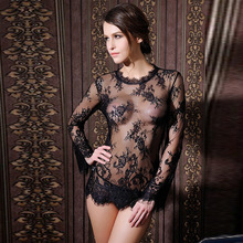 font b Sex b font Product Sexy Lingerie Through Long Sleeve Skirt Summer Lace Silk