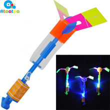 2Pcs/set LED Kids Toys Amazing Light Arrow Rocket Helicopter Flying Toy Light Flash Toys for Outdoor Game Play Gifts(China)