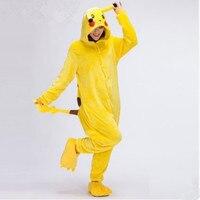 Pikachu Unisex Adultos Cosplay Animal de la Historieta Onesie Invierno Pijama de Franela Con Capucha Pijamas de Navidad Mujeres Hombre Encantador Establece Pijama