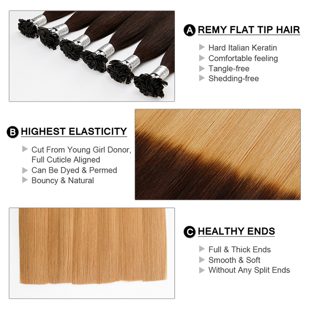 Remy Hair 0.8g/s 18 inch Remy Double Drawn Flat Tip Human Brown And Blonde Colored Hair Extension