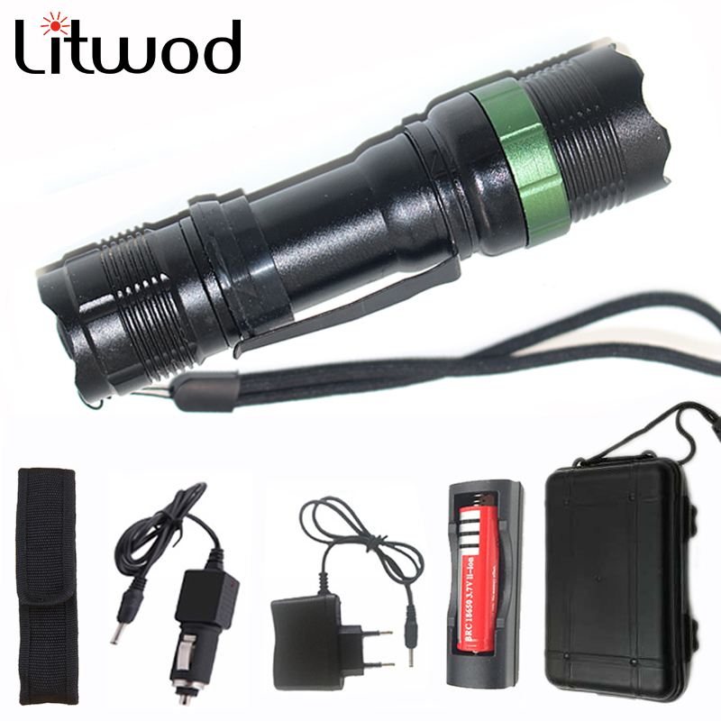 Litwod Z30CK91 Led Tactical Flashlight Aluminum Powerful Adjustable Waterproof Light Torch AC <font><b>Car</b></font> <font><b>Charger</b></font> Tool Box for Bike