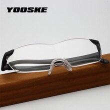 YOOSKE Big Vision 250% Reading Glasses Men Women Frameless magnifying 1.6 times +250 Degrees Magnifies Glasses Presbyopic
