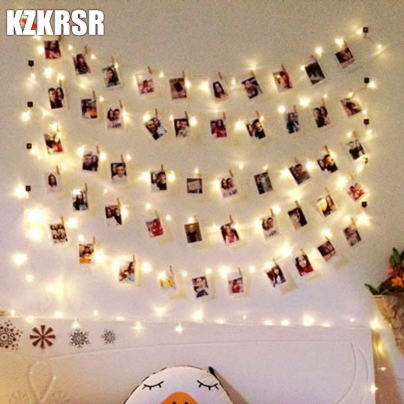 KZKRSR 2M 6.5FT 1M 3.3FT LED Garland Lights Photo Clip Fairy LED String Lights Battery Operated Window Party Wedding Decoration