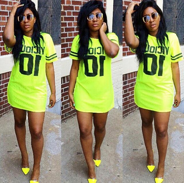 bac34b913fef Women summer dresses 2015 Net hole casual fluorescent green t shirt dress  letter printed sexy mini dresses cotton sport dress