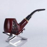 Nieuwe 1 stks rood sandelhout Pijp hout gesneden Pijp met hoogwaardige metalen ring sigaret filter P8014