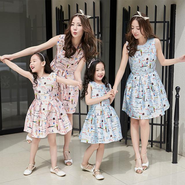 2016 marca summer clothing sin mangas impreso vestidos para niños chicas trajes a juego a juego vestido de madre e hija familia