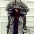 DHL Envío de la Alta Calidad 2016 Abrigo de Invierno Las Mujeres de Lujo 100% Natural Fox Cuello de Piel de Pato Blanco Abajo Chaqueta De Nieve prendas de vestir exteriores