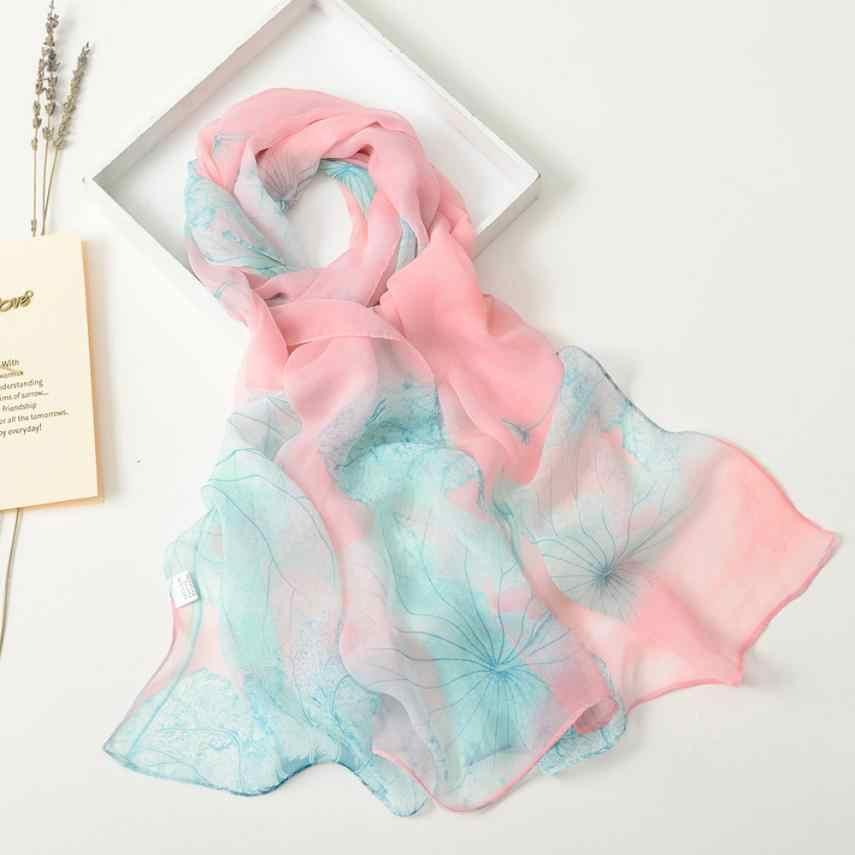 Fashion Wanita Lotus Syal Printing Panjang Lembut Membungkus Syal Wanita Syal Selendang Indah Selendang Syal Bernapas Tippet Selendang