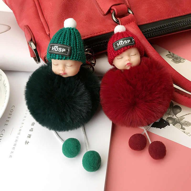 Moda bola de cabelo chaveiro do carro chaveiro feminino saco chave pingente dormir bebê boneca chaveiro pompom senhoras acessórios