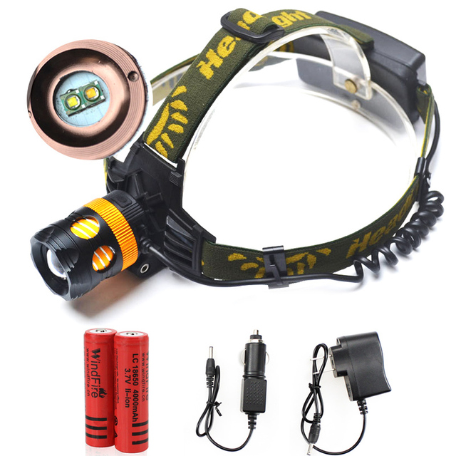 Double Bulbs LED Headlamp Cree 2 x Q5 Waterproof 2000lm Headlight White And Yellow Rechargeable 18650 4 Mode cabeza lampara