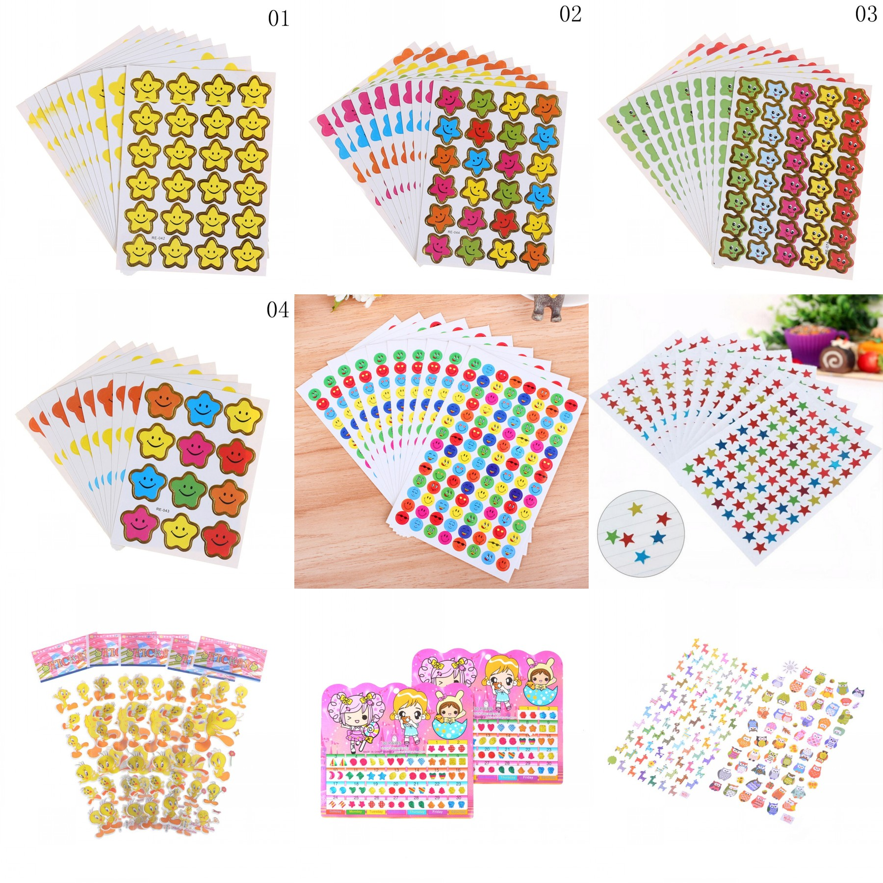 3 sheets Mini Colorful Smile Happy Face Hearts Stars Scrapbook Stickers!