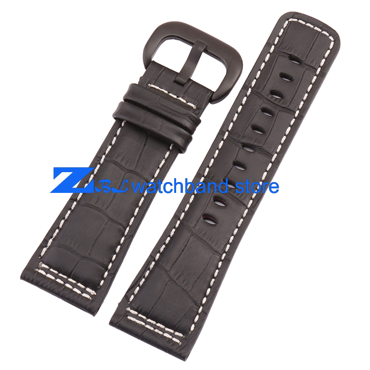 2015 new 28mm  The high quality Genuine leather strap Watchband Black with white stitched for Friday Men Watch accessories new high quality genuine leather watchband leather strap 22mm for jpw601 free shipping