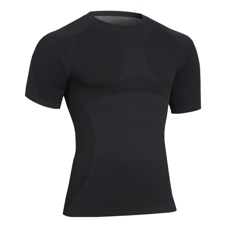 Summer autumn Men short sleeve Breathable quick dry thermal High-Elastic thigh Shaping underwear undershirts shaper