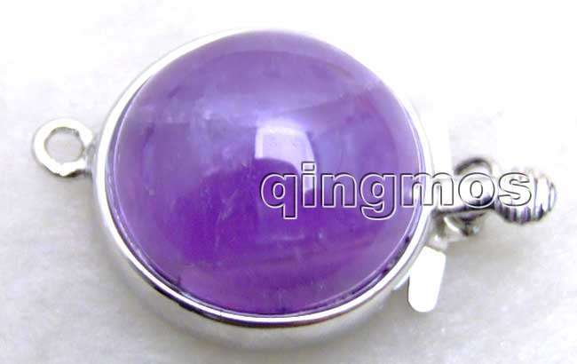 Qingmos 18mm Round Clasp Jewelry Making with Natural Purple Amethyst 1 strands Clasp Accessories for Jewelry-gp187