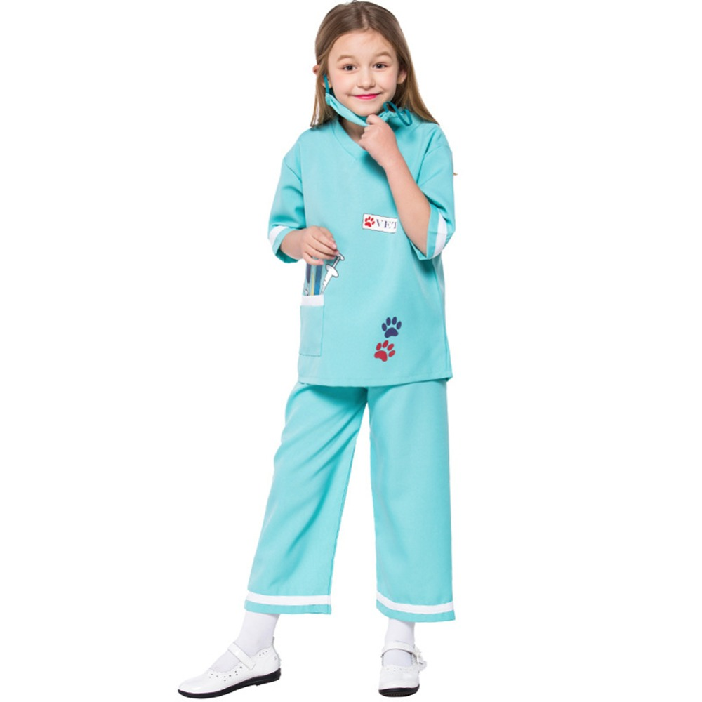 Kids Veterinarian Dress-up Set Children Doctor Scrubs Toddler Nurse Doctor Role Play Halloween Costumes for Girl Career Day