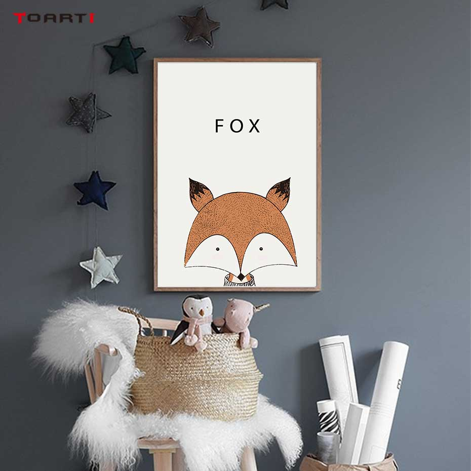 Image 5 - Kawaii Cartoon Animals Posters Prints Owl Fox Deer Canvas Painting For Kids Nursery Bedroom Modern Wall Art Pictures Home Decor-in Painting & Calligraphy from Home & Garden