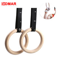 DMAR Wooden 28mm 32mm Exercise Fitness Gymnastic Rings Gym Exercise Crossfit Pull Ups Muscle Ups For Home Gym