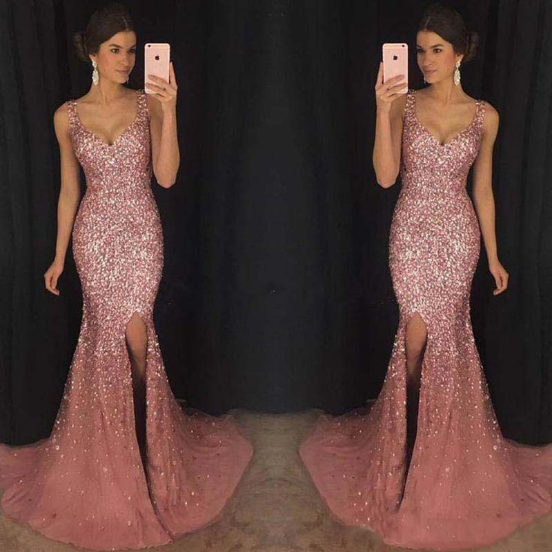 2019 Women Summer Long Dress Vintage Sexy Elegant Party Night Dresses Sequined Pink Women Dress