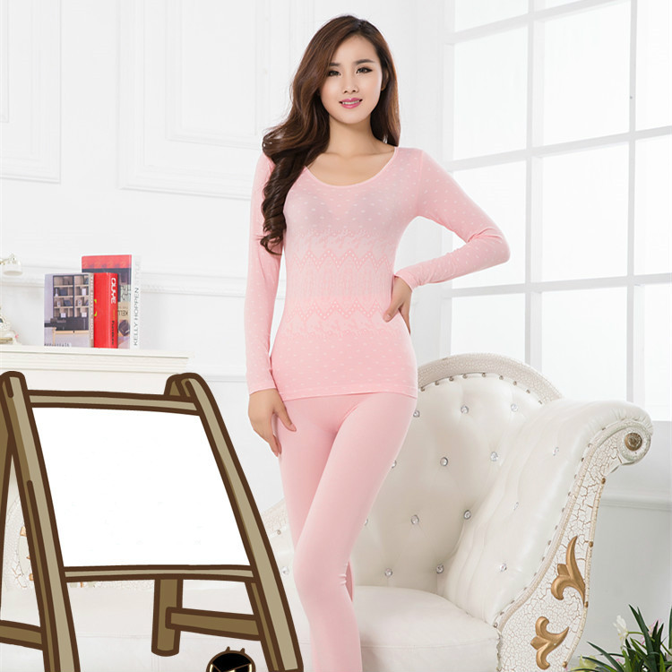 Seamless Long Johns  For Women Warm Thermal Underwear Tops&trousers O Neck Long Sleeve Modal One Size Solid Winter New Arrival