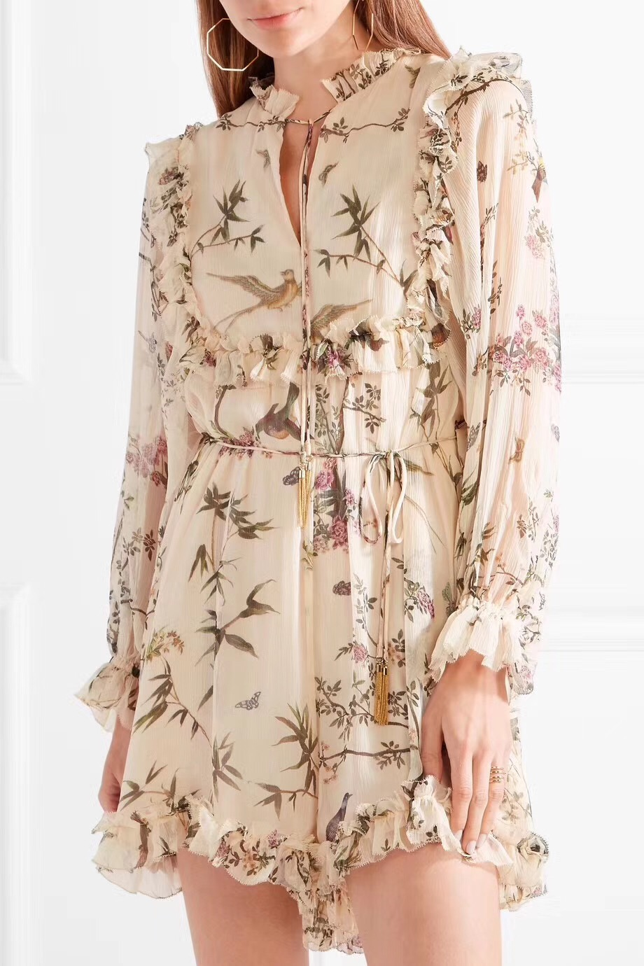 Women Frill Floral Silk Romper V-neck with Self-tie Detail Maples Frill Playsuit