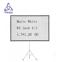 Thinyou Portable Foldable Stand Tripod Projector Screen 84 Inch 4:3 Diagonal HD Floor Stand Bracket Pull Up Matt White
