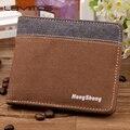 Небольшой бумажник холст мужчины короткие бумажник мужчины короткие бумажник Корейский сечение ретро студенты нулевой бумажник карты пакет прилив