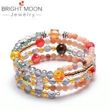Bright Moon Fashion Jewelry Color Stone Bracelet Natural Stone Bracelet Charm Crystal Stone Bracelet for Women stylish champagne color faux crystal embellished bracelet for women