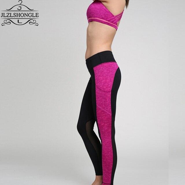 Fashion Pink Mesh Patchwork Women Leggings High Waist Elastic Sexy Pants Fitness Workout Capris Trousers